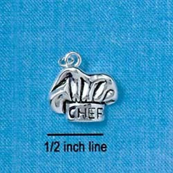 CHEF'S or BAKERS Hat Silver Plated Charm Pendant  chs1109