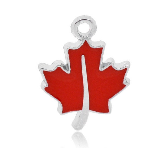 Silver Tone Red Enamel Maple Leaf Charms Pendants 16x13mm . 4 pieces