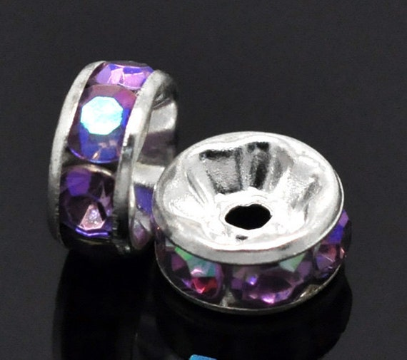 8mm GRAPE PURPLE AB Coated Rhinestone Crystal Silver Plated Spacer Rondelle Beads . 10 pieces . Smooth Edge . bme0191a