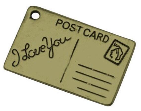 4  Antique Bronze I LOVE YOU Love Letter Postcard Charm Pendants 25x15mm.  chb0099