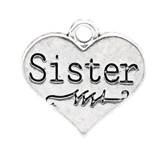 """4 Silver Tone Metal Pewter """"Sister"""" Heart Charm Pendants  17mm x 16mm  ( FREE Combined Shipping )"""
