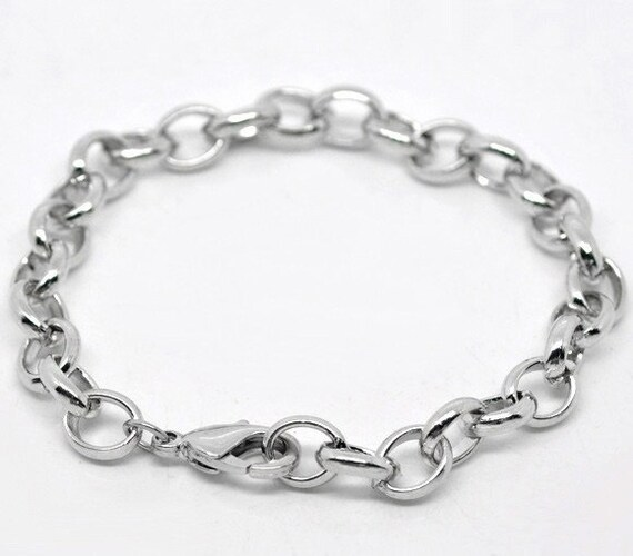 One Dozen (12) Silver Tone Chunky Chain Charm Bracelets  19cm  7.5 inches long bulk package fch0023
