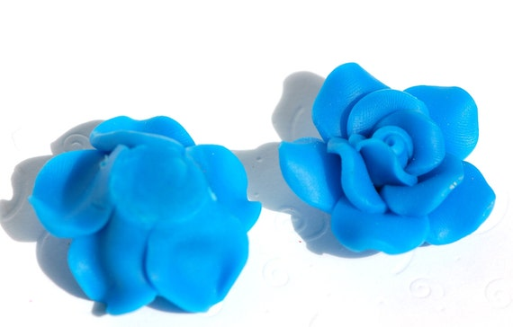 2 Large BRIGHT BLUE Polymer Clay Rose Beads pol0087