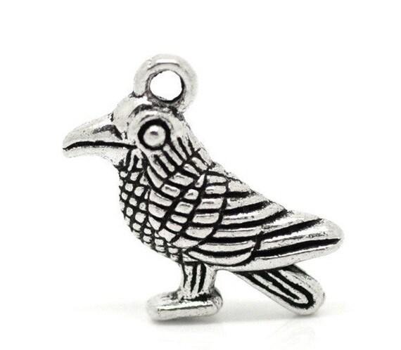 6 Antique Silver Tone Pewter 3-D BIRD Charm Pendants