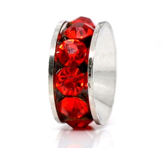 5 Silver Tone RED Rhinestone Rondelle Spacers Beads 10mm Large Hole, European Beads