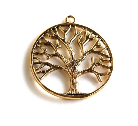 2  Large Antique Gold Brass TREE OF LIFE Pendants