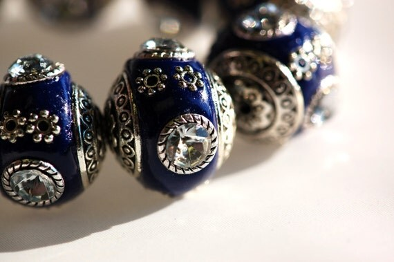 4 Unique Large COBALT BLUE Indonesian Clay Beads, Crystals and Bali Accents, excellent quality