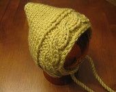Cable Pixie Hat Straw Newborn