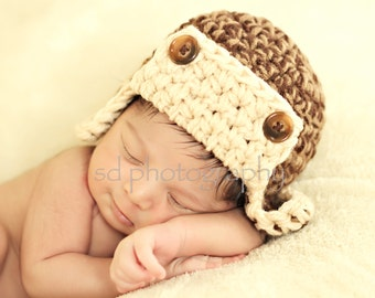 Aviator Hat - Photo Prop - BROWN/TAN 3-6 month