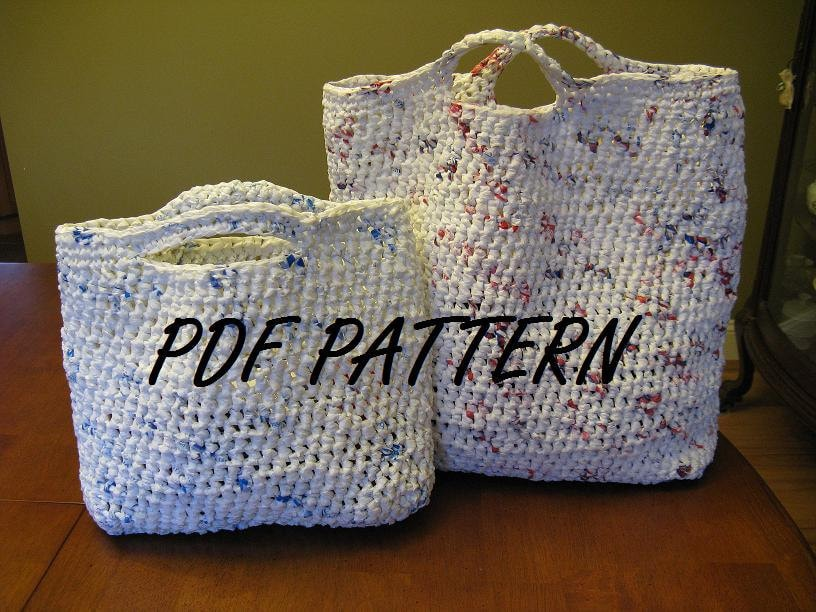 Crochet Plarn Tote Bag Pattern : Recylced Plarn Bag PATTERN PDF Format No 2
