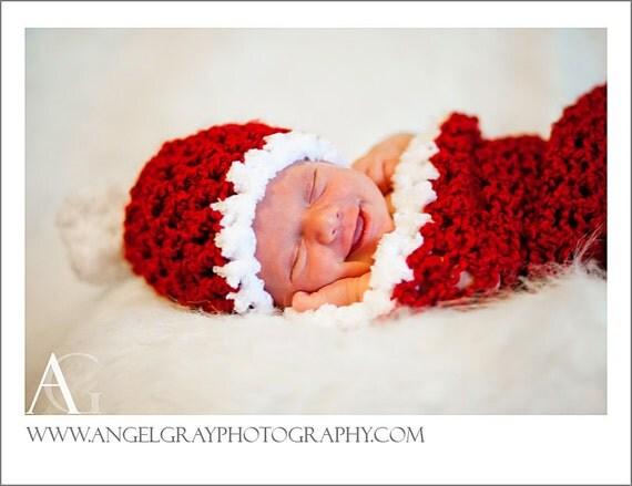 CROCHET PATTERN Newborn Santa Hat and Cocoon Photography Prop
