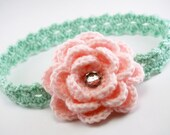 Crochet Headband with Rhinestone Rose Rosette Blossom Flower Baby Newborn Infant Toddler Childs Mint Green and Light Pink