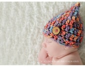 Baby Hat Newborn Photo Prop Neutral Boy Girl Pixie Elf Stocking Beanie Chunky Crochet Knit Ready to Ship Photography Infant Blue Red Purple