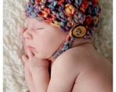 Baby Neutral Chin Strap Button Crochet Beanie Hat Newborn Infant Baby Boy Girl Unisex Photo Prop Chunky Red Blue Brown Ready to Ship Cap