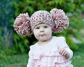 Toddler Girl Hat Chunky Crochet Double Pom Pom Beanie Toddler Photo Photography Prop Girls Winter Hat Pink Cream Ivory Off White Beige Brown