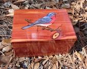 Cedar Jewelry box with woodburned bluebird