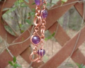 Copper Chainmaille and Amethyst Bracelet