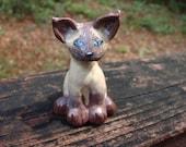 Hand sculpted paper clay miniature cat