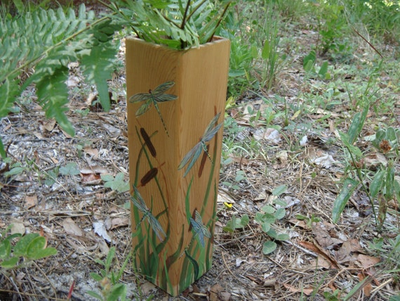 Western Cedar vase with glass insert-dragonflies and cattails painted motif