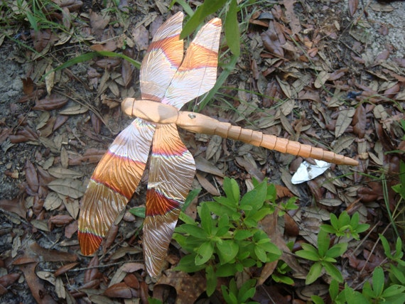 Large 9 inch long carved cedar  and copper dragonfly