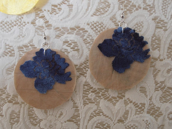 Fused Plastic Round Earrings with lace