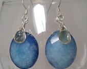 Blue Aventurine Earrings with Citrine Dangle