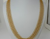 Gold Chainmaille Necklace, European 4 in 1, Long Necklace