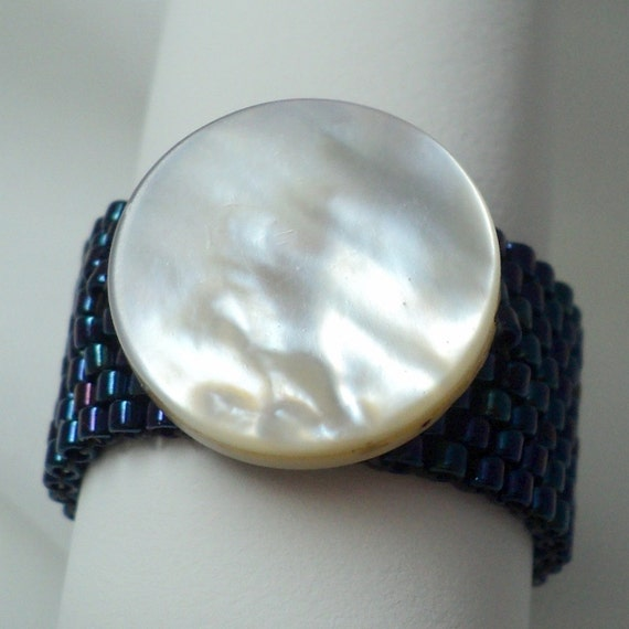 Beadwoven Peyote Ring, Shell, Midnight Blue and White
