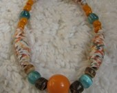 Recycled Collection, Unique Upcycled Paper Bead Bracelet -Tropical Escape