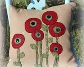 Felt poppy applique pillow cover
