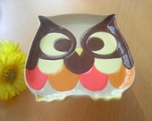 Small Owl Cake Stand Dessert Stand or Cupcake Pedestal in Brown, Orange, Yellow