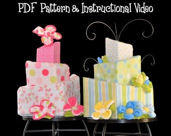 Diaper Cake How to, Topsy Turvy Square Pattern and Instructional Video