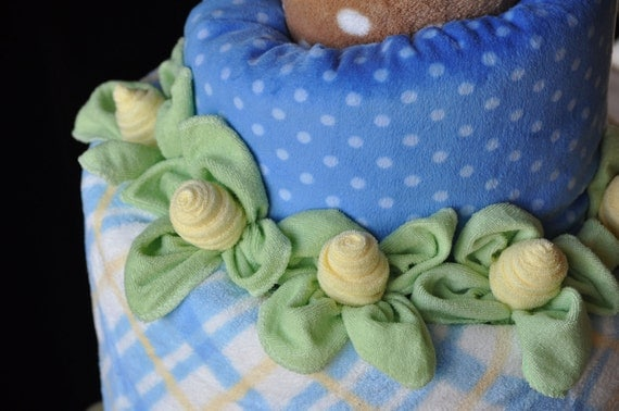 Baby Washcloth Thin Rose & Leaves, WashAgami ™, for a Diaper Cake How to Make Video