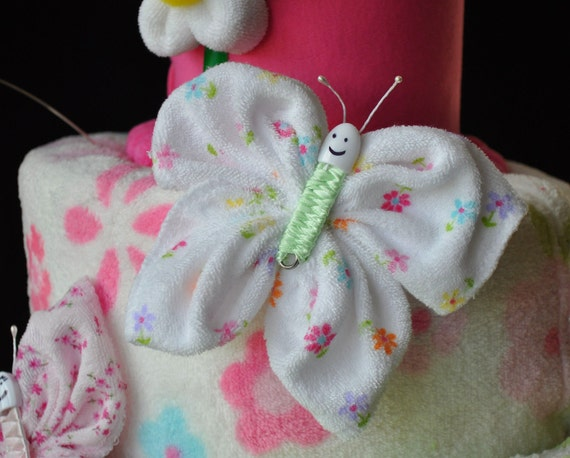 Baby Washcloth Butterfly, WashAgami ™, Diaper Cake Topper How To Video (Sale)