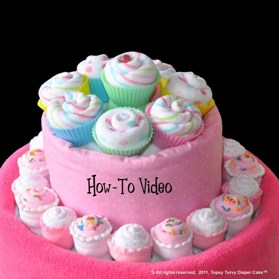 Baby Washcloth Cupcakes, Mini and Full Size, WashAgami ™ - Video