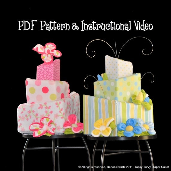 Diaper Cake How To Topsy Turvy Square Pattern And