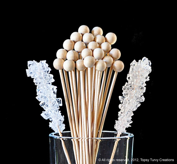 "Rock Candy Sticks, Cake Pop Sticks, Marshmallow Pop and - 6"" size (50 count)"