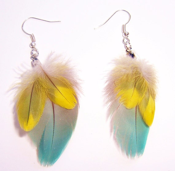 sunny spring sky-small feather earrings pastel blue and yellow feathers VEGAN FRIENDLY
