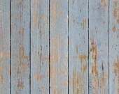 "54""x5' Photography Backdrop Faux Floor Blue Washed Barnwood Photo Prop"