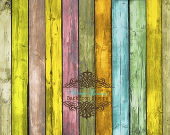 7' x 7'  Photography Backdrop Light Multi Colored Wood