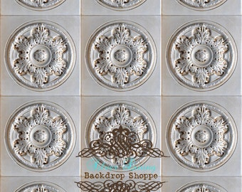 5ft x 6ft Vinyl Photography Backdrop ON SALE for Newborns, Babies and Children White Floral Victorian Tile