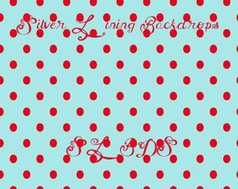 5x5ft Photography Backdrop Faux Wall Red & Teal Polkadots