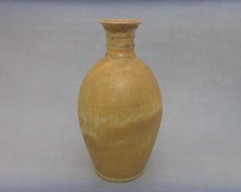 Ceramic Bottle Vase - Matte Goldenrod Glaze