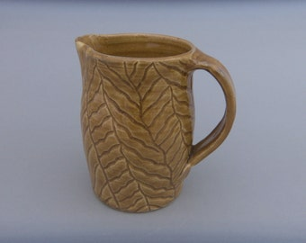 Pottery Pitcher - Small Handmade Hand Carved Little Honey