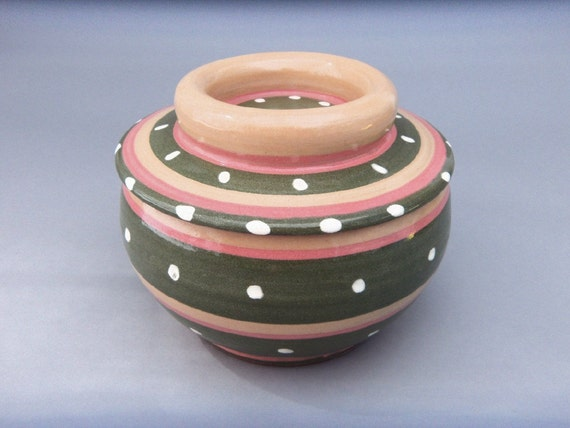 Covered Crock - Casserole - Pottery Bowl - Polka-dot