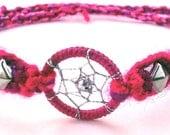 Pink Burgundy Studded Dream Catcher Friendship Bracelet