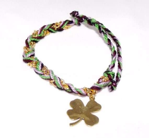 four leaf clover friendship bracelet by paolaloves2shop on