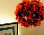 "12"" Orange and Purple hanging Fuzzy Lamp / Lantern"