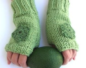 Green fingerless gloves, knitted mittens, chunky biker gloves, fall fashion 2012