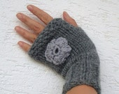 Grey hand knitted fingerless gloves, mittens with flowers, cozy wristwarmers, biker gloves, knit mittens